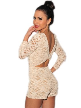 Lace Nude Illusion Knotted Key-Hole Back Romper set with lace panties