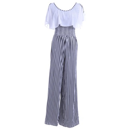 Anna-Kaci S/M Fit Black and White All Over Stripes Pattern Capelet Jumpsuit