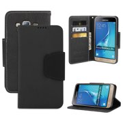 BLACK INFOLIO WALLET CREDIT CARD ID CASH CASE COVER STAND FOR SAMSUNG GALAXY J3