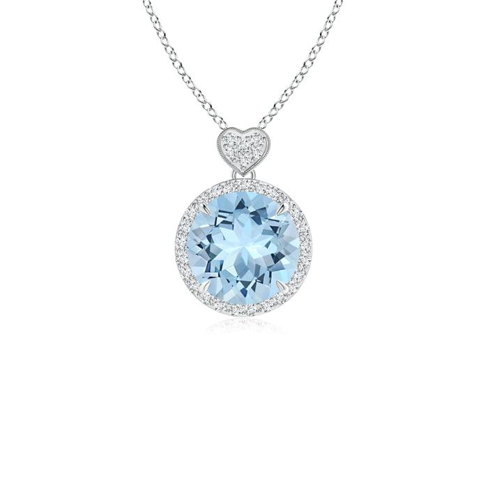 March Birthstone Pendant Necklaces Round Aquamarine Halo Pendant with Diamond Heart Motifs in 950 Platinum (8mm... by Angara.com