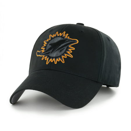 Miami Dolphins Team Colors - NFL Miami Dolphins Black Mass Basic Adjustable Cap/Hat by Fan Favorite