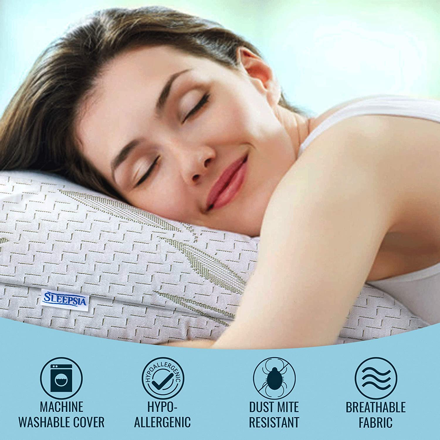 Sleepsia Bamboo Premium Memory Foam Pillows for Sleeping with Washable Pillow Case, Standard