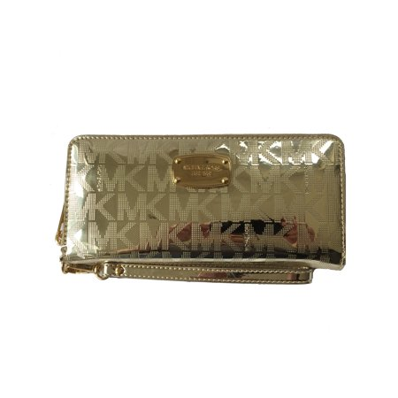 Fabric Continental Wallet - Michael Kors Jet Set Travel Continental Pale Gold Mirror Zip Around Wallet Wristlet