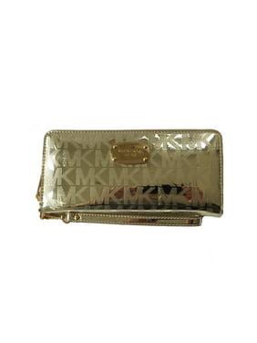 03b8d20bb5bd36 Product Image Michael Kors Jet Set Travel Continental Pale Gold Mirror Zip  Around Wallet Wristlet