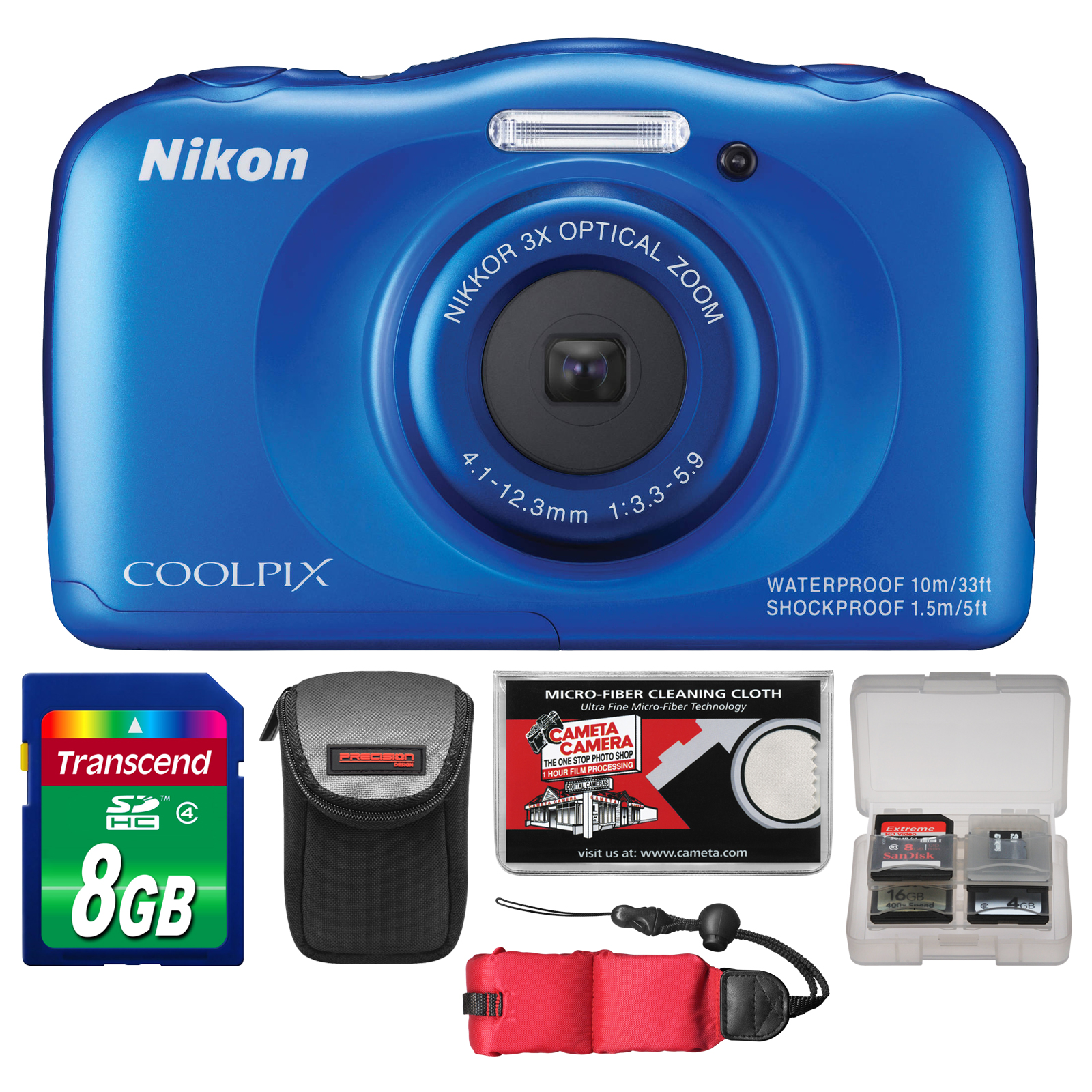 Nikon Coolpix S33 Shock & Waterproof Digital Camera (Blue) with 8GB Card + Case + Float Strap + Accessory Kit
