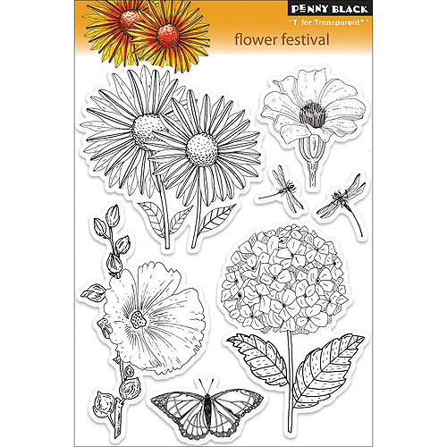 """Penny Black Clear Stamps 5"""" x 7.5"""" Sheet, Flower Festival"""