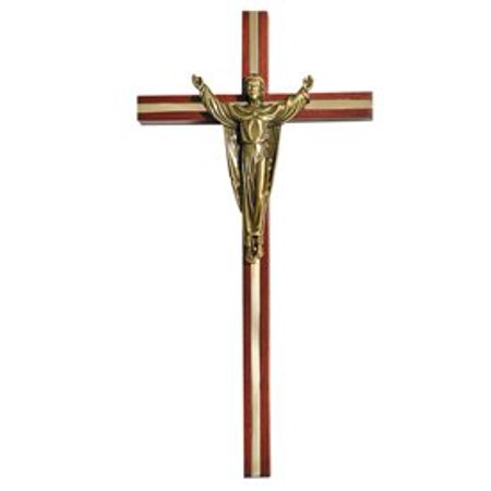 Walnut Finish Inlay Risen Christ Wall Cross, Wood/GP Zinc Alloy By Autom