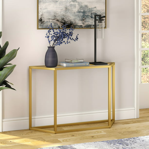 "Geometric Metal Console Table, Glass Sofa Table for Living Room/Hallway/Entryway in Gold Finish, 29"" H x 44"" L x 12"" W"