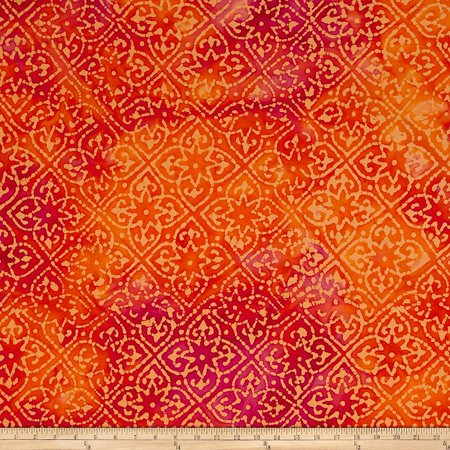 Indian Batik Mirage Patch Orange Fabric By The Yard, Batik By Textile (Batik Fabric Textile)