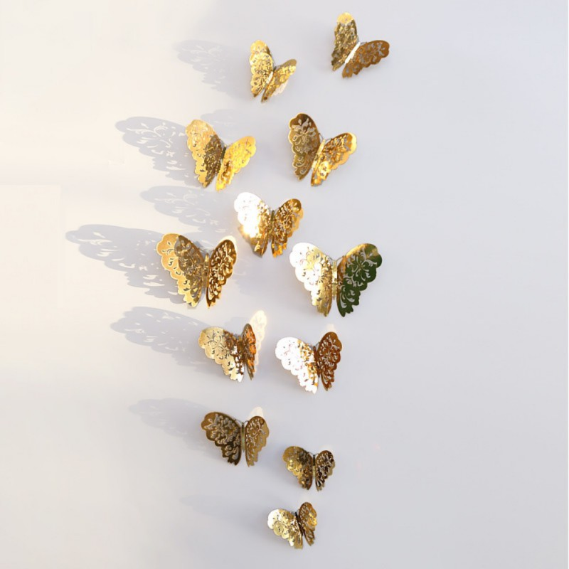 ENJOY 12pcs DIY 3D Hollow Out Butteryfly Art Wall Stickers Gift Wedding Party Decors