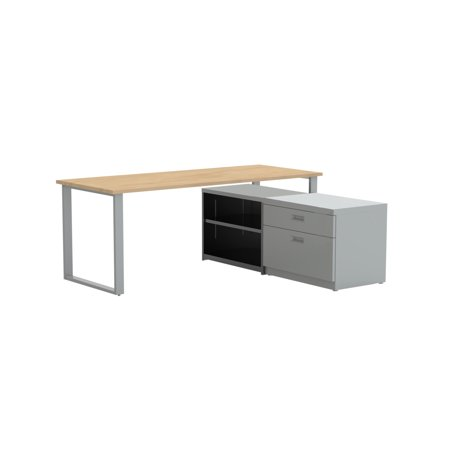"""72"""" X 30"""" Desk with Bookcase and Lateral Pedestal, Kensington Maple Laminate / Silver Finish"""