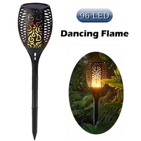 Cinoton Solar Path Torches Lights Dancing Flame Lighting 96 LED Dusk to Dawn Flickering Tiki Torches Outdoor Waterproof Lights ()