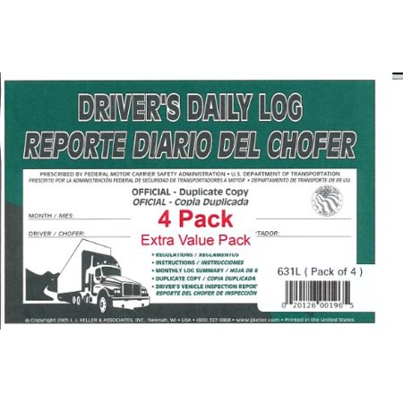 J.J. Keller 631L Drivers Daily Log Book, Bilingual, 2-Ply, w/Carbon w/Recap & Simplified DVIR, Book Format, English/Spanish, 5-1/2 x 8-1/2 - Pack of 4 ()