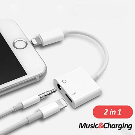(Lightning to 3.5 mm Headphone Jack Adapter , Excellenter iPhone X/ 8/ 7 Plus Earphone Lightning Adapter & Splitter, 2 in 1 Aux Headphone Jack Audio + Charge Cable Adapter, Support iOS 10.3 and Later)