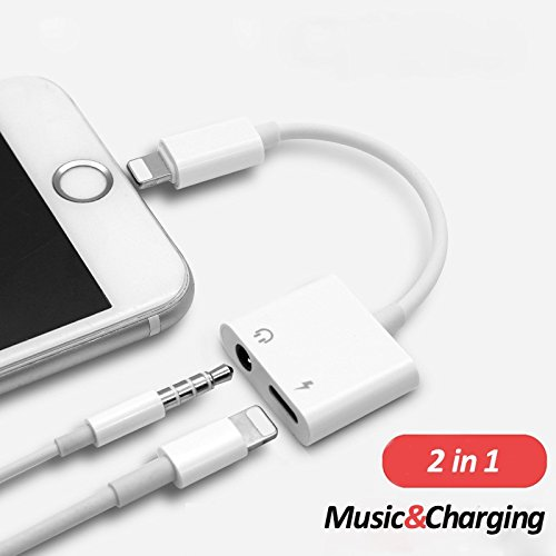 Lightning to 3.5 mm Headphone Jack Adapter , Excellenter iPhone X/ 8/ 7 Plus Earphone Lightning Adapter & Splitter, 2 in 1 Aux Headphone Jack Audio + Charge Cable Adapter, Support iOS 10.3 and Later