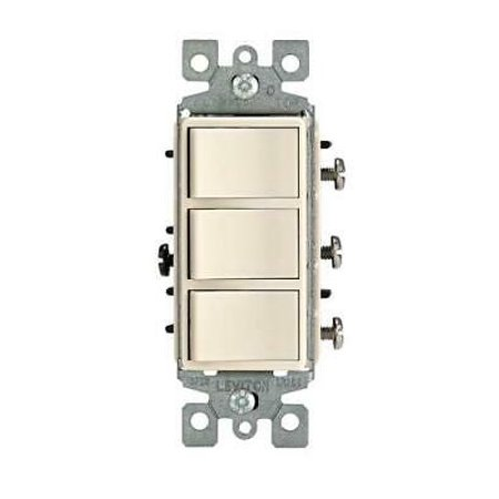 1755-LT 15 Amp 120V Decora Three Rocker Combination Switch, Light Almond