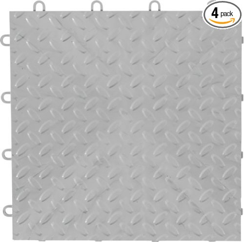 GarageWorks GAFT04TTPS Silver Floor Tile, 4-Pack, UL Clas...