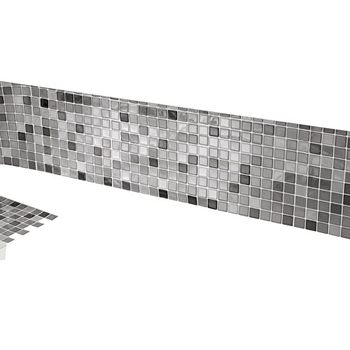 Multi-Colored Adhesive Mosaic Backsplash Tiles for Kitchen and Bathroom - Set Of 6, Black And White