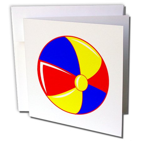 3dRose yellow red blue beach ball graphic huge - Greeting Cards, 6 by 6-inches, set of 6
