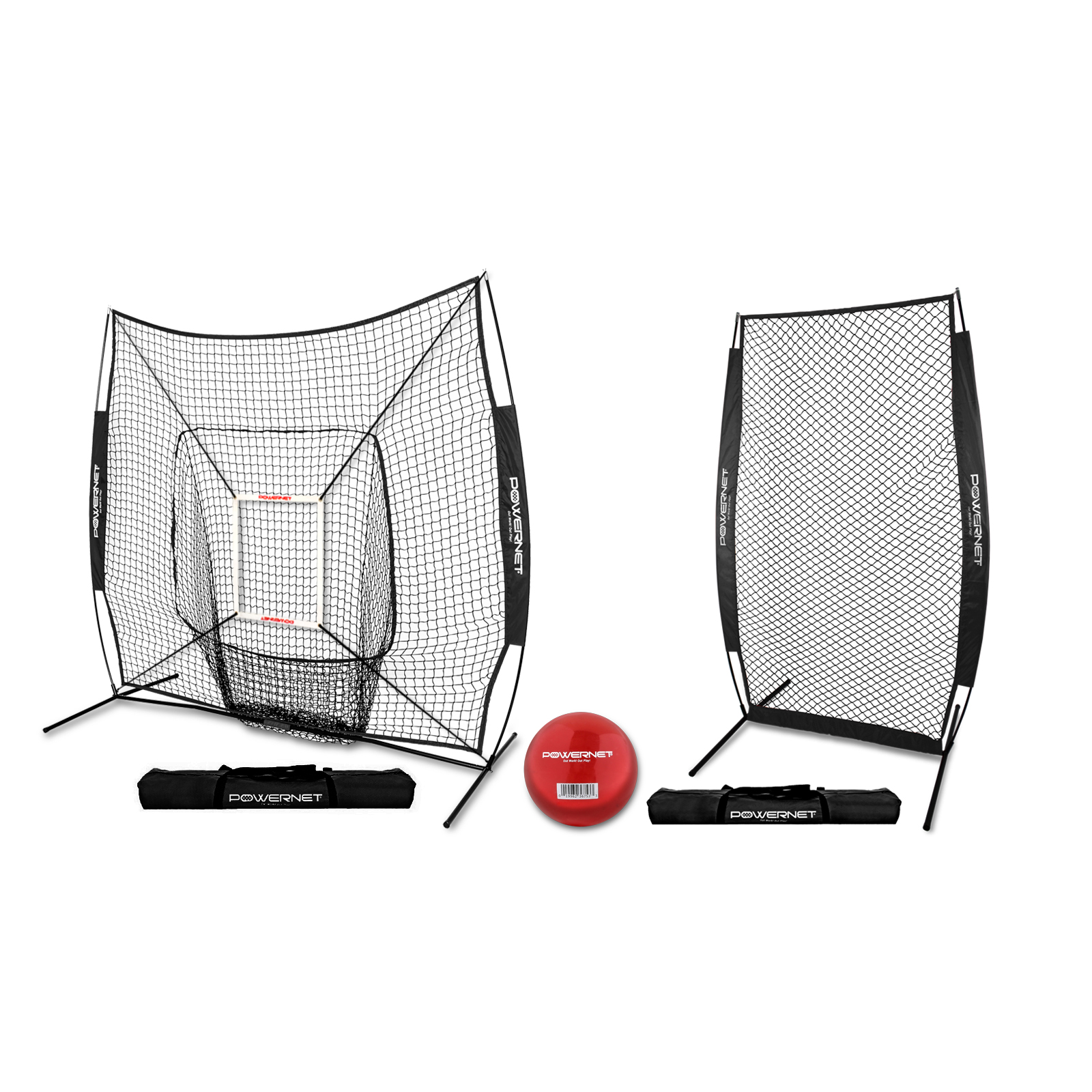 PowerNet 7x7 Baseball Softball Hitting Net Bundle with I-Screen Protection Net