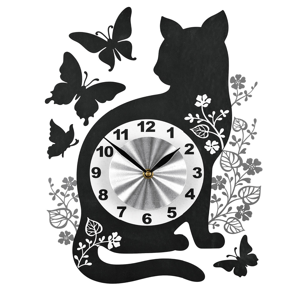Cat And Butterfly Decal Wall Clock, Black