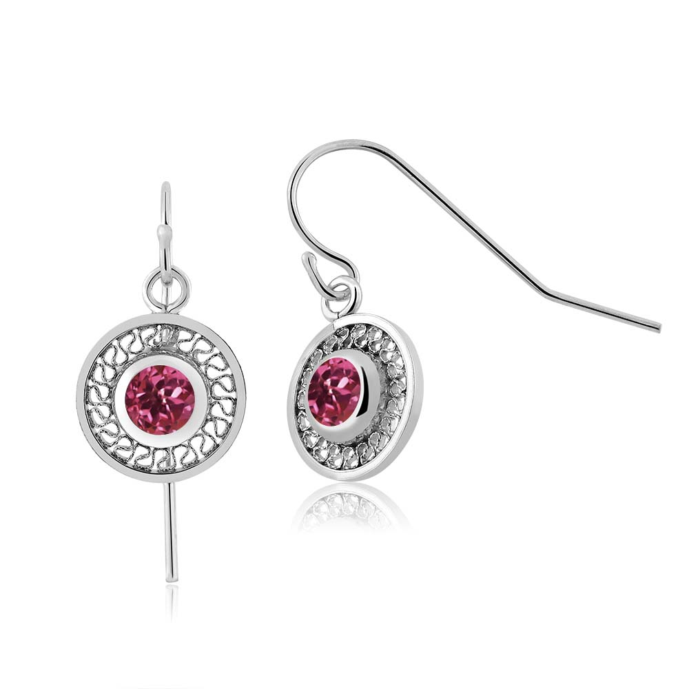 1.00 Ct Round Pink Tourmaline AAA 925 Sterling Silver Earrings by