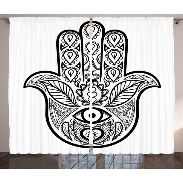 Mandala Decor Curtains 2 Panels Set Hamsa Hand With Inner Eye Image Evil Eyes God Bless You Oriental Eastern Art Print Living Room Bedroom Accessories By Ambesonne Walmart Com Walmart Com