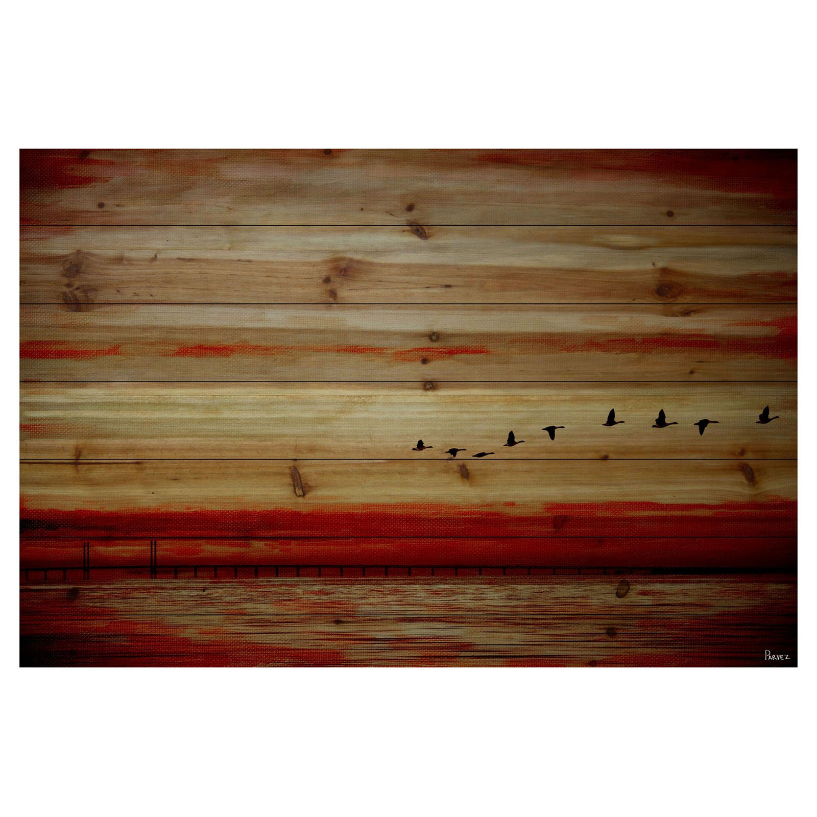 Parvez Taj Flying South Painting Print on Natural Pine Wood
