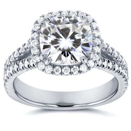 Forever One (D-F) Moissanite and Halo Diamond Engagement Ring 2 1/2 CTW 14k White Gold