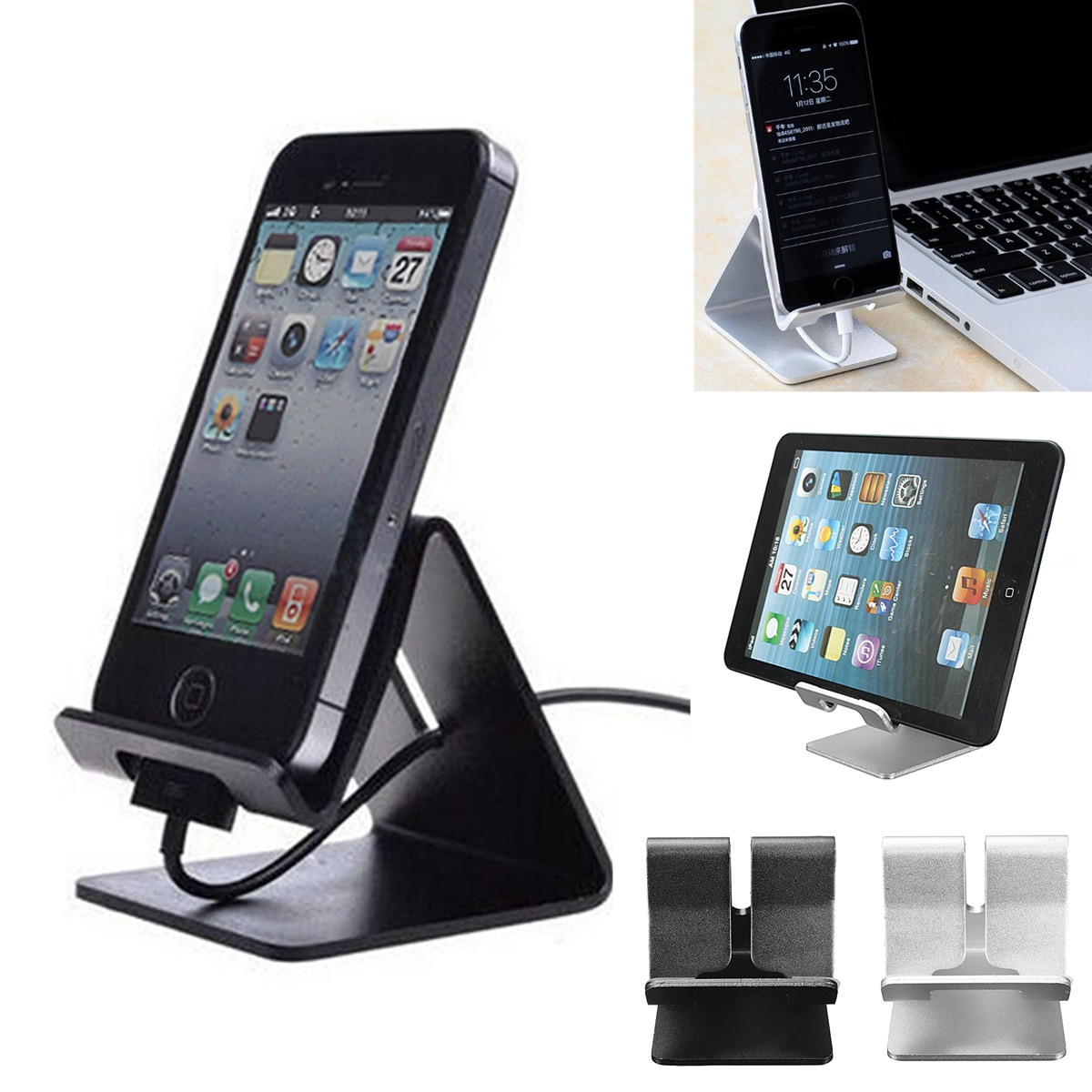 "M,way Universal Solid Aluminum Alloy Metal Mobile Phone Desktop Dock Stand Mount Holder Stander Cradle for iPhone Samsung LG HTC Sony and Other Smartphones & Most 7"" tablet ,Black color"