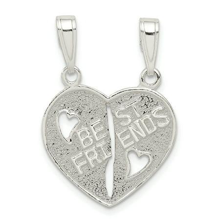 925 Sterling Silver Best Friends Bestfriend Friendship Break Apart Heart Necklace Pendant Charm Gifts For Women For