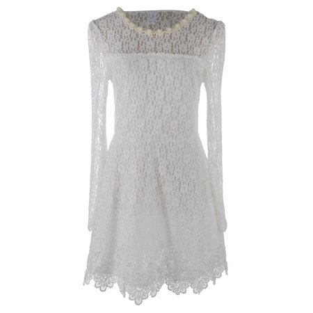 Fashion Womens Classic Chinese Collar Long Sleeve Lace Overall Dress White for $<!---->
