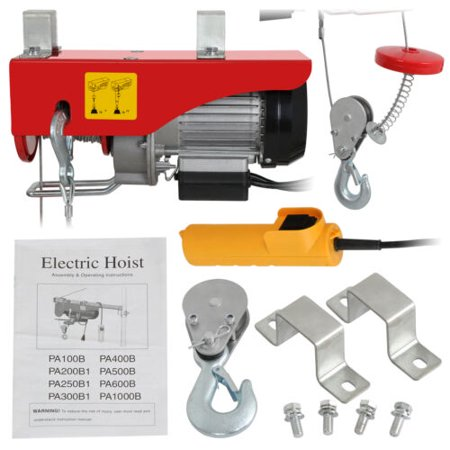 Electric Hoist Winch Lifting Engine Crane Garage Hanging Cable Lift Hook 200KG (Engine Hoist Crane)