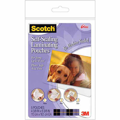 "3M Self-Sealing Laminating Pouches, 4"" x 6"", 5/pkg"