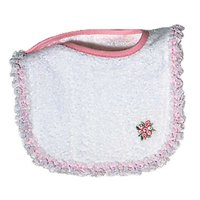 Baby Girls Girl Appliqued Lace Bib, White/Pink