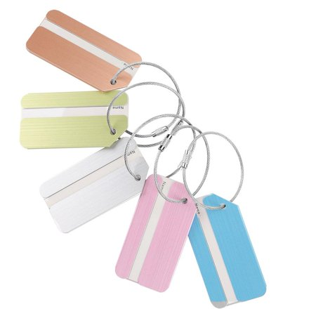 Tbest 5Pcs Aluminum Alloy Metal Baggage Luggage Suitcase Tag Address ID Identity Card for Travel, Suitcase Tag, Address Card