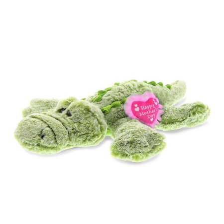 """DolliBu Happy Mother's Day Super Soft Plush Alligator Figure - Cute Stuffed Animal with Pink Heart Message for Best Mommy, Grandma, Wife, Daughter - Cute Wild Life Plush Toy Gift - 16.5"""" Inches"""