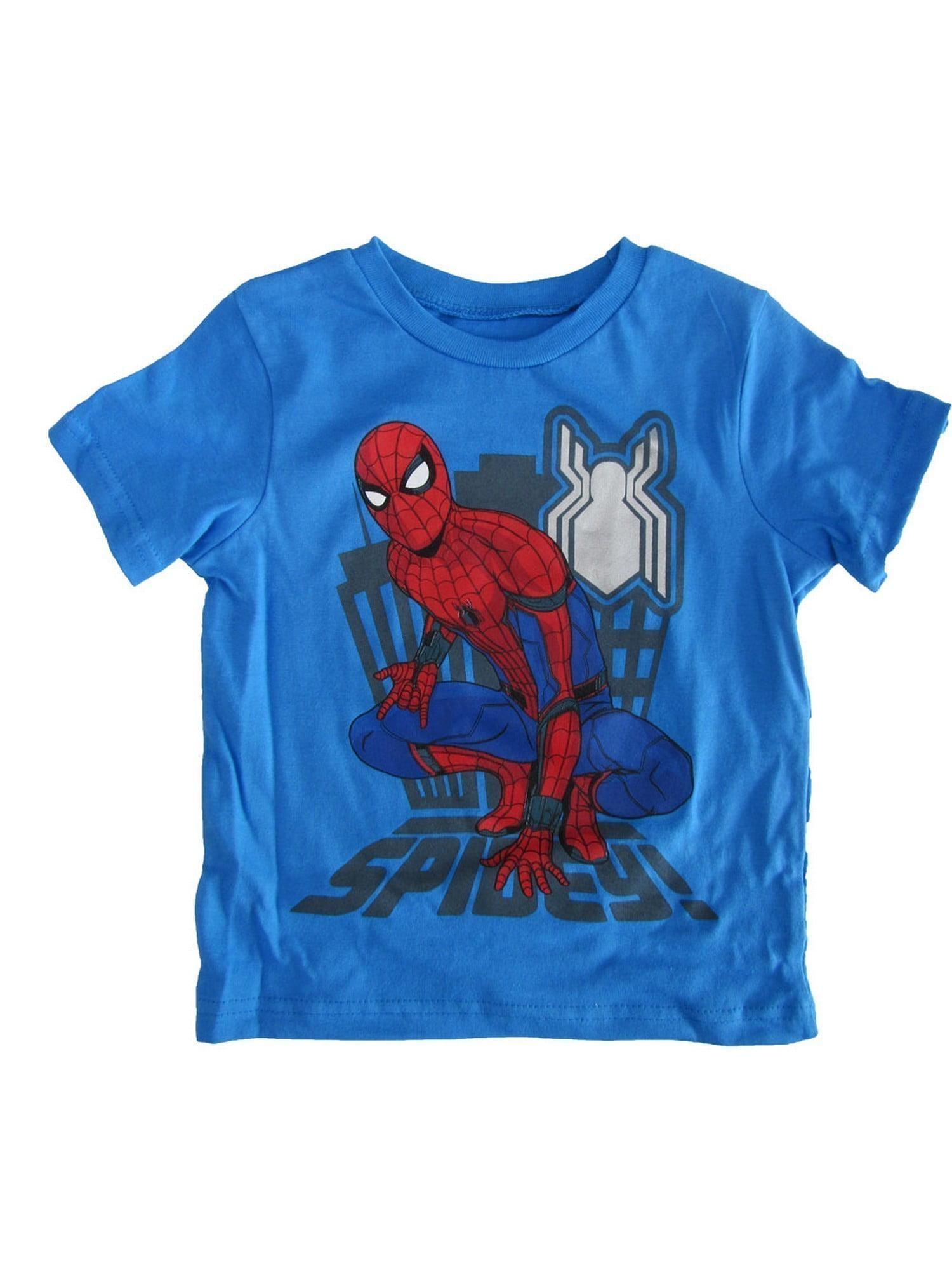 "Marvel Little Boys Blue Red ""Spidey"" Print Short Sleeve Trendy T-Shirt"
