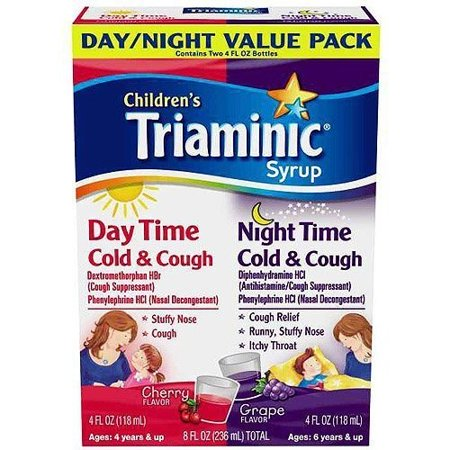 Children's Triaminic Day Time and Night Time Cold & Cough Syrup, Cherry/Grape, 4 Fl Oz, 2 (Best Time Of Day To Take Nexium Tablets)