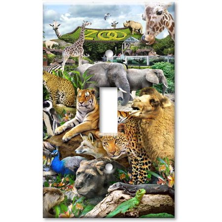 Art Plates brand - Single Gang Toggle Wall Plate - Zoo Animals (Zoo Plates)