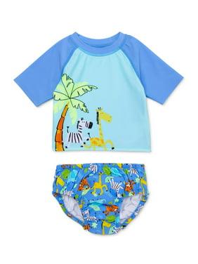 Wonder Nation Baby Boy Rashguard & Swim Diaper, 2pc Set