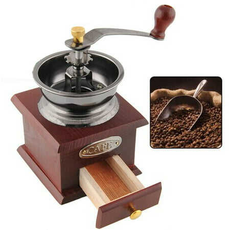 Vantage Mini Wood Stainless Steel Manual Hand Coffee Bean Grinder Mill Drawer SPECIAL TODAY ! ()