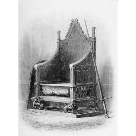 The Coronation Chair In Westminster Abbey Made For King Edward I To Enclose The Famous Stone Of Scone In 1300-L From The Book The Queens Of England Volume I By Sydney Wilmot Published London Circa 189 - Queens Of The Stone Age Halloween Poster