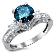 Noori Collection Noori 14k Gold 1 1/2ct Certified 3-stone Blue and White Round Princess Cut Diamond Engagement Ring
