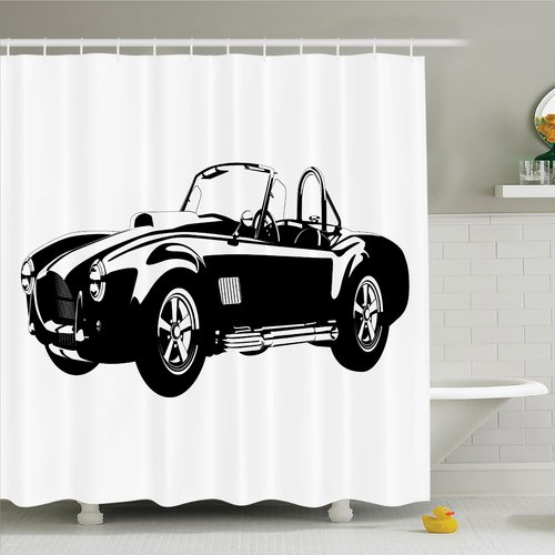 Ambesonne Vintage Classic Car Silhouette Shower Curtain Set