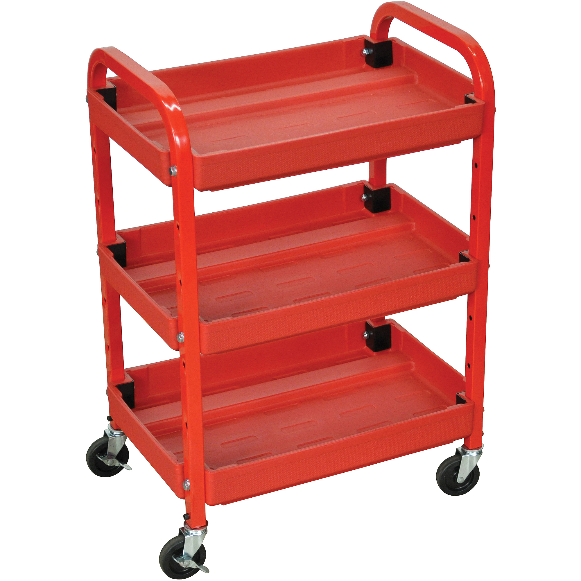 Luxor 3-Shelf Utility Cart, Red