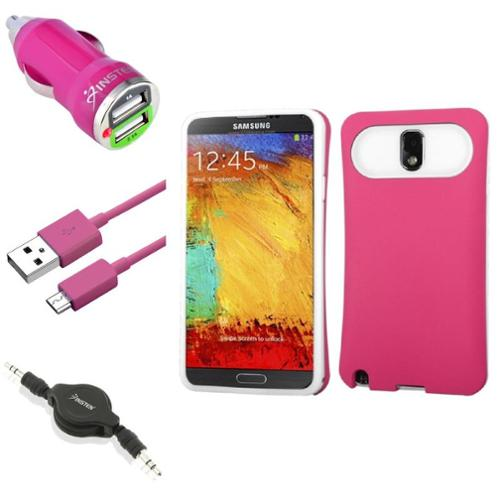 Insten Pink Wallet Back Case+USB+Charger+Audio Cable For Samsung Galaxy Note 3 N9000