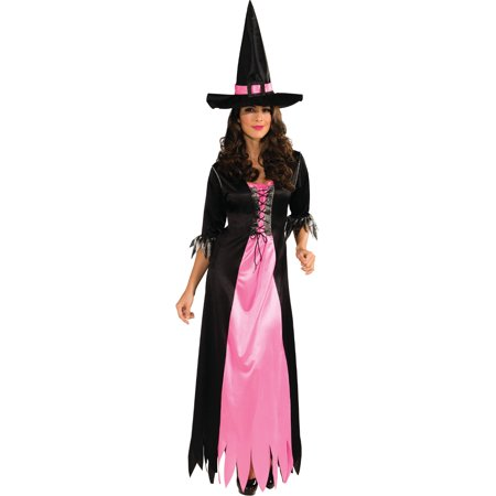 Witch Adult Womens Costume - Adult Womens Black Pink Witch Costume Standard 12