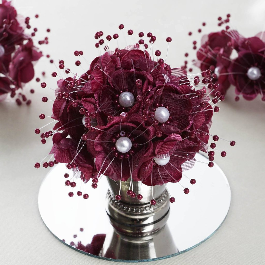 BalsaCircle 72 Faux Pearl Craft Beaded Flowers - Mini Flowers for DIY Wedding Party Favors Decorations Supplies