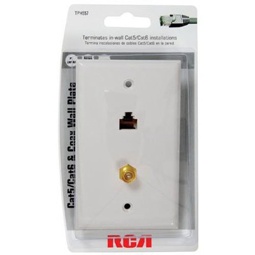 cat 5/6 f connector wall plate tph557r cat5e/6 fconnector wall plate rca ship from us  walmart